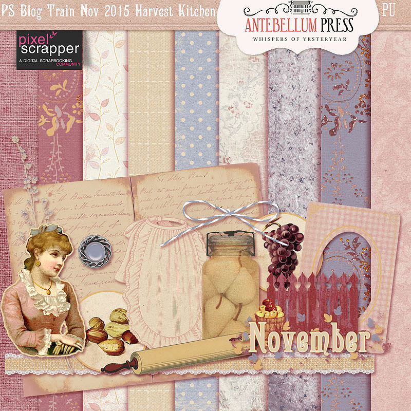 Pixel Scrapper Nov 2015 Blog Train Freebie Thankful Kitchen Mini Kit from Antebellum Press