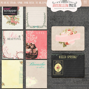 Pixel Scrapper April 2016 Blog Train Life in Full Bloom Freebie Journal Cards from Antebellum Press