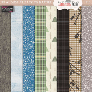 Pixel Scrapper Aug 2016 Blog Train Freebie Back to Nature Papers from Antebellum Press