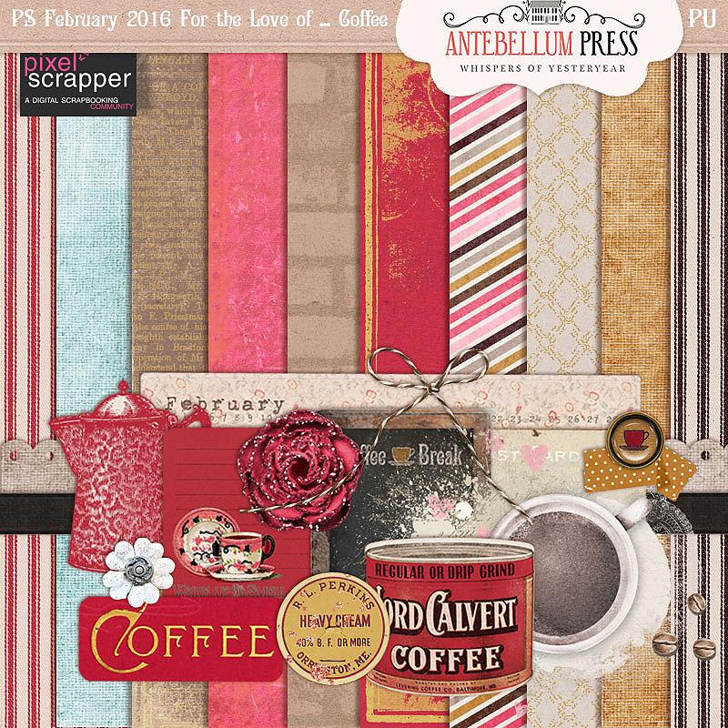 Pixel Scrapper Feb 2016 Blog Train Freebie For the Love of Coffee Mini Kit from Antebellum Press