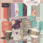 Pixel Scrapper Jan 2016 Blog Train Freebie Crafty Evening Mini Kit from Antebellum Press