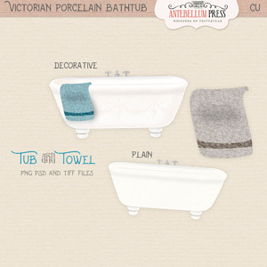 Commerical Use Victorian Bathtub and Towel from Antebellum Press