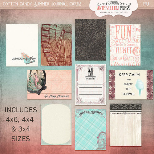 Cotton Candy Summer Journal Cards from Antebellum Press