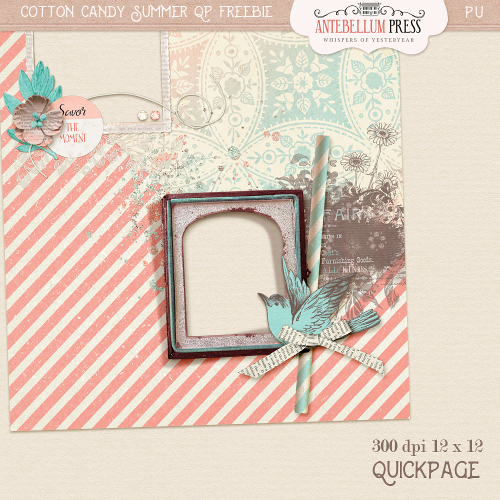 Cotton Candy Summer Quick Page Freebie