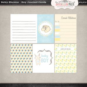 Antebellumpress Baby Shower Boy Journal Cards