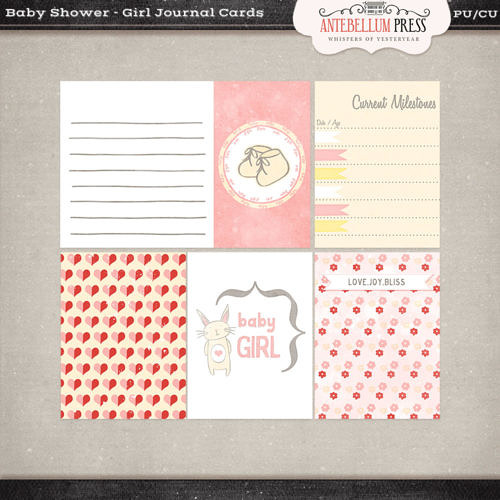 Antebellumpress Baby Shower Girl Journal Cards