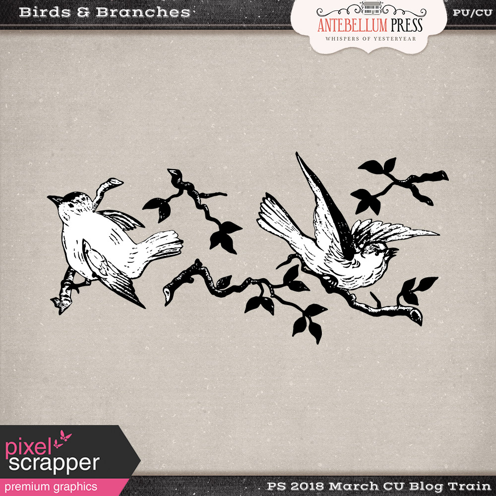 PS CU Blog Train March 2018 - Birds and Bracnhes Freebie